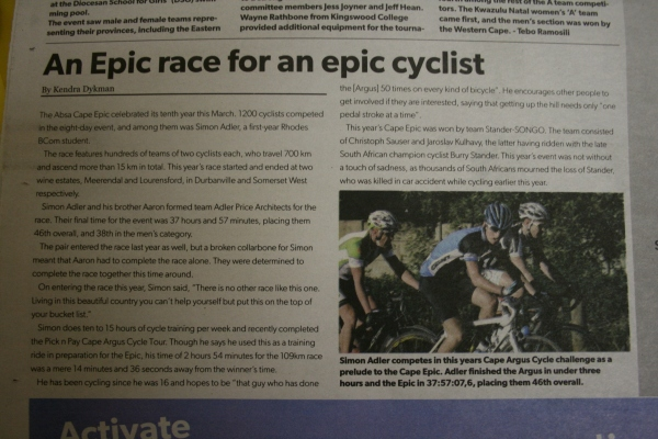The article on Simon Adler, a first year Rhodes University Student who competed in the Absa Cape Epic