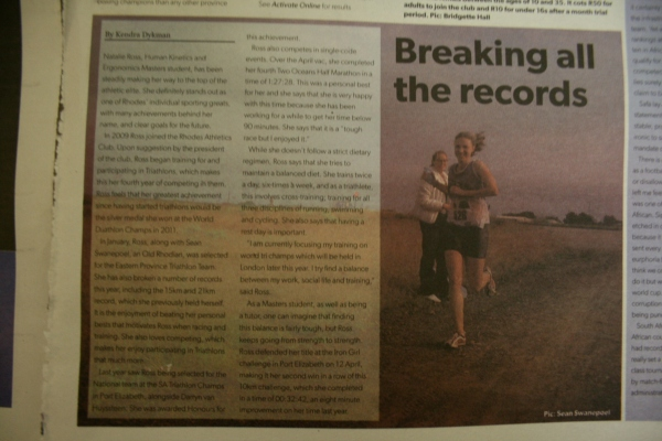 Article in Activate on Natalie Ross, a really great runner and sportswoman in general