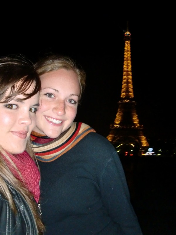 Kendra and Kirsten in front of the Effel Tower by Night