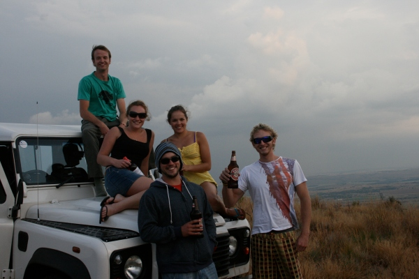 Kyle is missing from this photo (can't imagine why...). This photo was taken much to Chris' displeasure: who stands on a Landy!?!?!