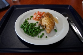 Saturday: GRILLED CHICKEN CREOLE (C/BREAST), TOMATO SALSA, BAKED POTATO, PEAS (Health Platter)