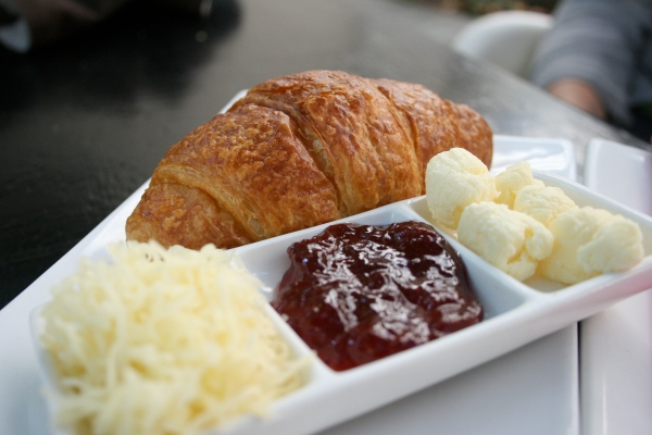 Croissant with jam and cheese - note: it is smaller than it looks in the photo, but big enough