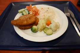 Saturday: Chicken schnitzel. One of those meals that reminds me of home. Generally the rice is also done quite nicely as well