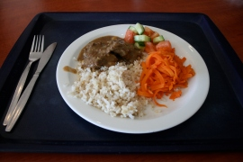 Tuesday lunch: GRILLED VENISON STEAK, BROWN RICE, LEAN PEPPER SAUCE