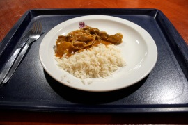 Tuesday: chicken curry. This was definitely on a bad day, not the most appetising piece of chicken I've seen