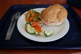 Wednesday: HAM & CHEESE ROLL, SALAD BAR, SAUTE POTATOES (Fast Food default)
