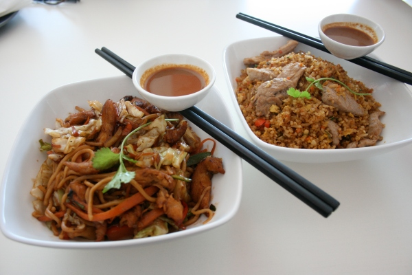 """Noodles are the greatest! Here is a sample of chicken noodles in """"Japanese"""" (soy) sauce (left) alongside the pork with fried rice (right)"""