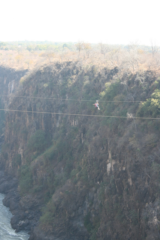 Zip lining above the Zambezi