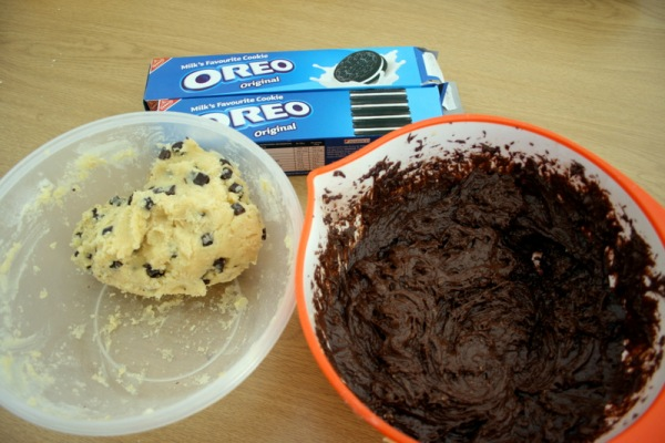 The three main components: cookie dough (delicious as is, by the way, who cares about Salmonella...?)
