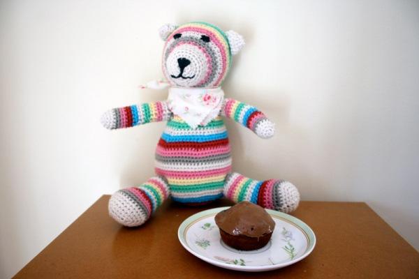 Teddy awaits a gorgeous Bar One Cupcake