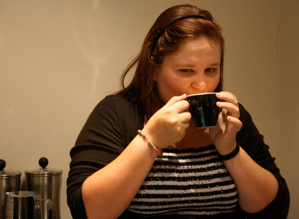 Ashley Brown, a fellow writing student, savouring that little cup of goodness