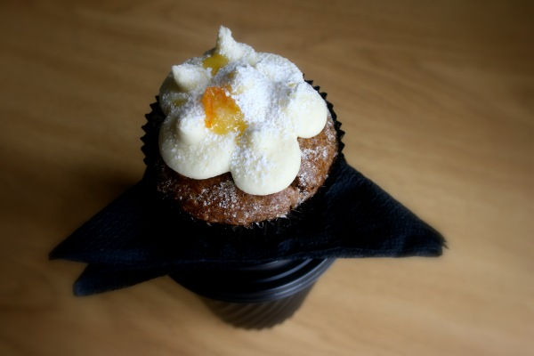 Carrot cupcake with orange cream cheese frosting. Dinky and delicious!