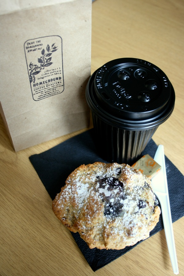 Cappuccino and a great big blueberry muffin for breakfast to go please!