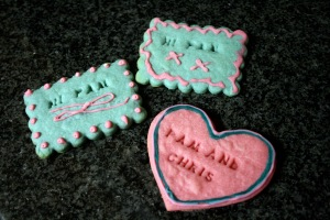 """Hi Pam""! ""Pam and Chris"". It's easier to make cookies like this for someone else rather than admitting just how lonely the future could be..."