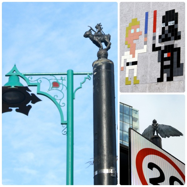 These are very different kinds of street art. Most people probably wouldn't even notice those little statues at the top of street poles. If there's one thing I learnt from my time in London, is to look up.