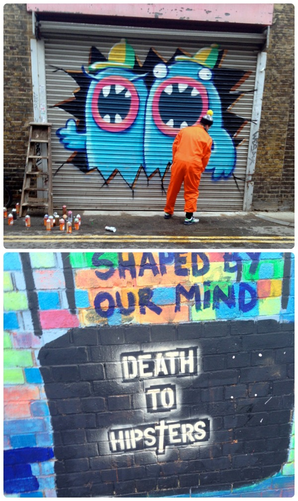 My walk to work each morning had some interesting art work that made for some truly thought-provoking self-discussion. Mostly, I liked the colours in the bottom one, and seeing the man in the top one work away in broad daylight really took the stigma of graffiti away