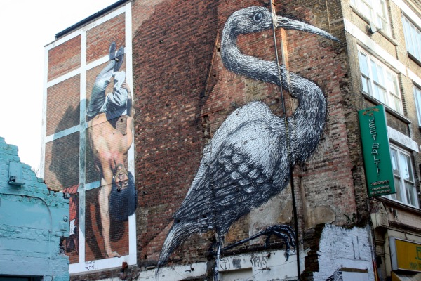 No, we didn't go breakdancing. But how amazing is Roa's bird, with each brush stroke (on a brick wall!) looking so feathered and textured?