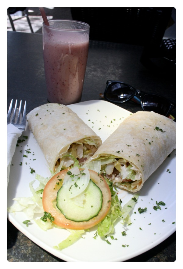 Chicken and bacon wrap with a berry smoothie, a wholesome healthy lunch (that is also delicious)
