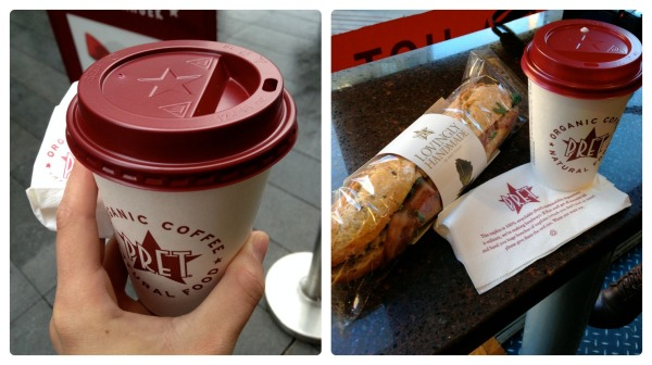 Pret is on just about every corner in London, and their coffee is pretty decent. I had their hazelnut chocolate bells and whistles latte thing that was amazing. Their food is pretty good, and, as with all chains, they provide consistency in their quality