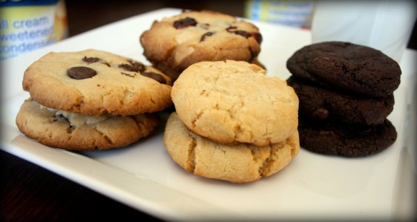 Condensed milk cookies with choc chips, macadamia nuts and cranberries, and plain goodness